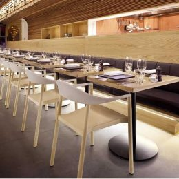 American Oak Veneer And Solid Timber Banquet Seating With Strip Lighting 2