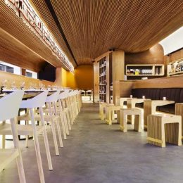 American Oak Veneer And Solid Timber Banquet Seating With Strip Lighting