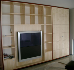 Figured Sycamore And Jarrah Veneer Tv And Display Unit
