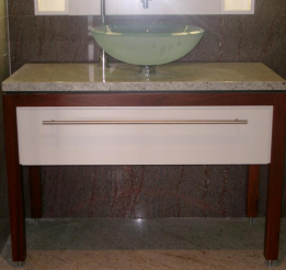 Jarrah Timber Vanity With Polyurethane Draw Front With Stone Top