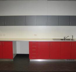 Laminated Commercial Kitchenette With Stainless Kicks