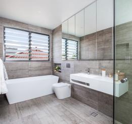 Mirrored Door Shaving Cabinets With Doors Hanging Down To Create Handle