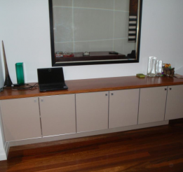 Polyurethane Cabinet With 30mm Thick Solid Timber Blue Gum Top
