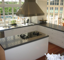 Polyurethane Kitchen With Recessed Doors And 40mm Stone Tops