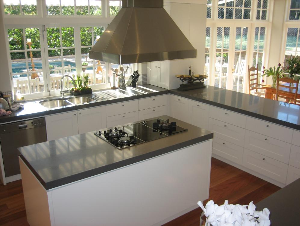 Polyurethane kitchen with recessed doors and 40mm stone for Furniture 96 taren point