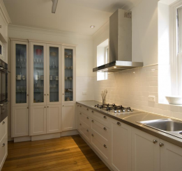 Polyurethane Kitchen With Recessed Doors And Stainless Tops