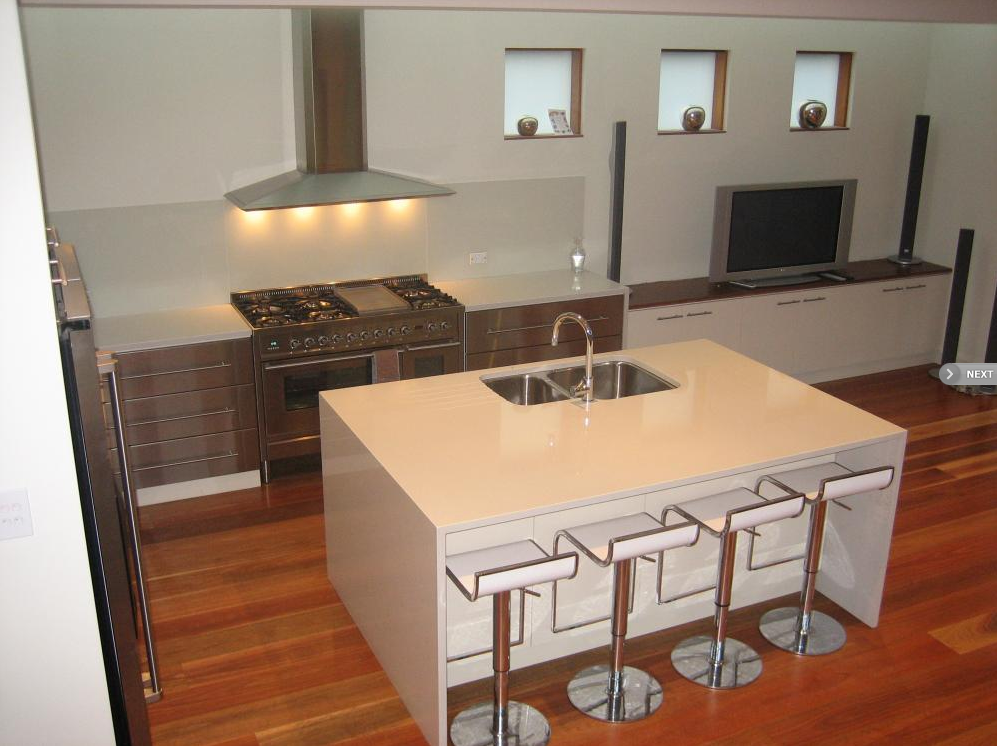 Polyurethane kitchen with stainless draw fronts tasker for Furniture 96 taren point