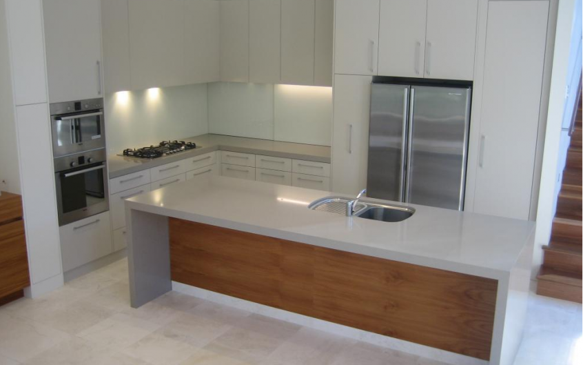 Polyurethane Kitchen With Stone Tops And Veneer Island Bench Back
