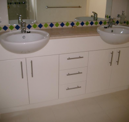 Polyurethane Vanity With Semi Recessed Twin Basins