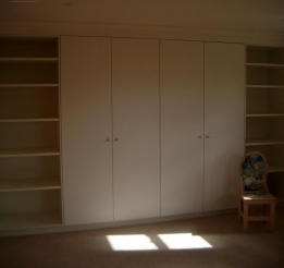 Polyurethane Wardrobe With Doors And Open Shelving