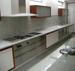 Poyurethane And Venner Kitchen With Stainless Benchtops And Stone Splashbacks