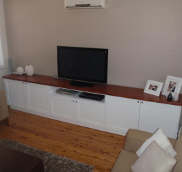 Tv Cabinet With Routed Profile Doors And Veneer Top