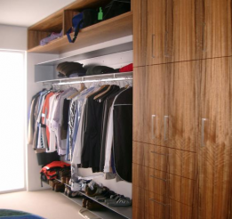 Veneer Walk In Robe With Hanging Rail And Shoe Racks