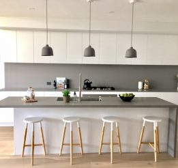 Polyuretane Kitchen with Concrete Stone Benchtops & Splashback
