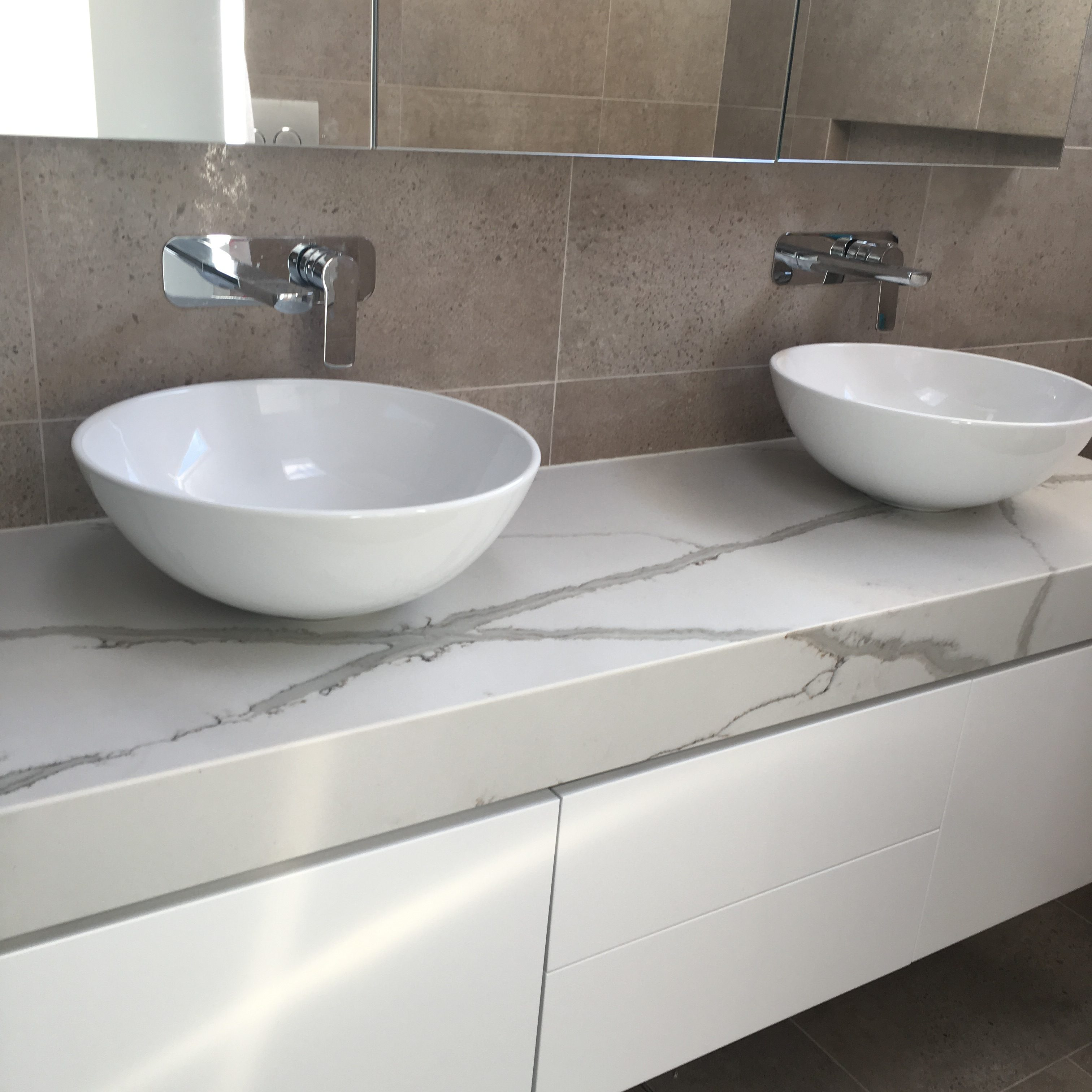 Polyurethane Vanity With 100mm Stone Benchtop Tasker Joinery