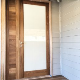 Spotted Gum door with V Groove side panelling