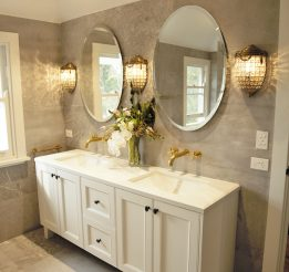 Antique White Bathroom Vanity with Stone Benchtop